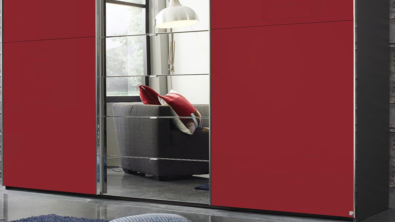 schwebet renschrank yourjoyce schranksystem schwarz rot spiegel 300. Black Bedroom Furniture Sets. Home Design Ideas
