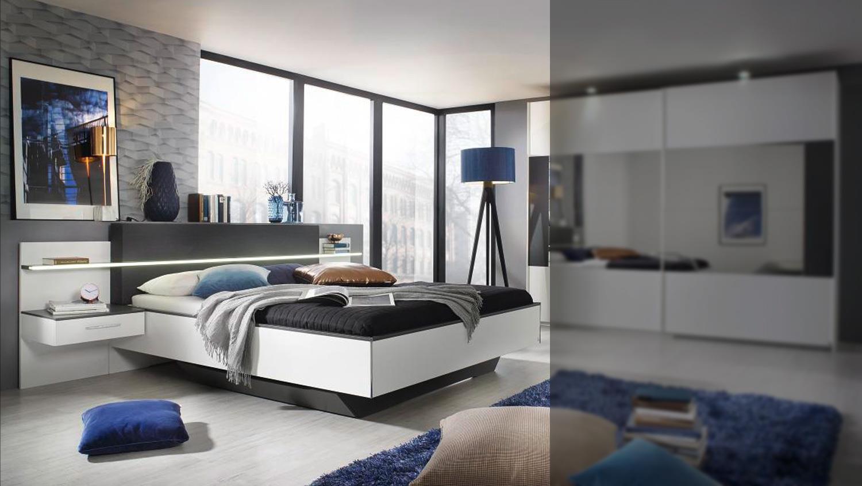 bettanlage elissa bett nachttisch schlafzimmer wei graphit led 180. Black Bedroom Furniture Sets. Home Design Ideas