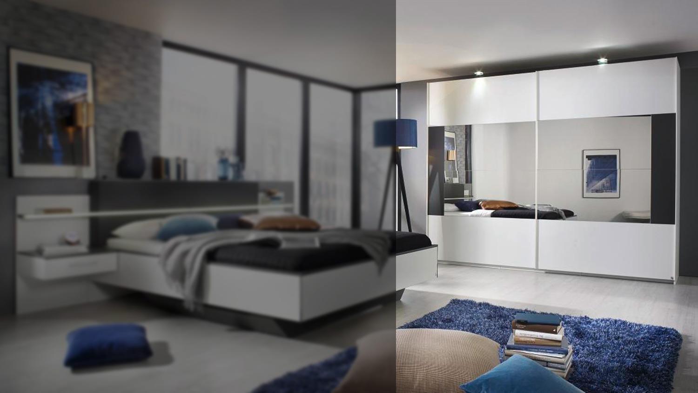 Schwebetürenschrank ELISSA Schrank Schlafzimmer weiß und graphit 270