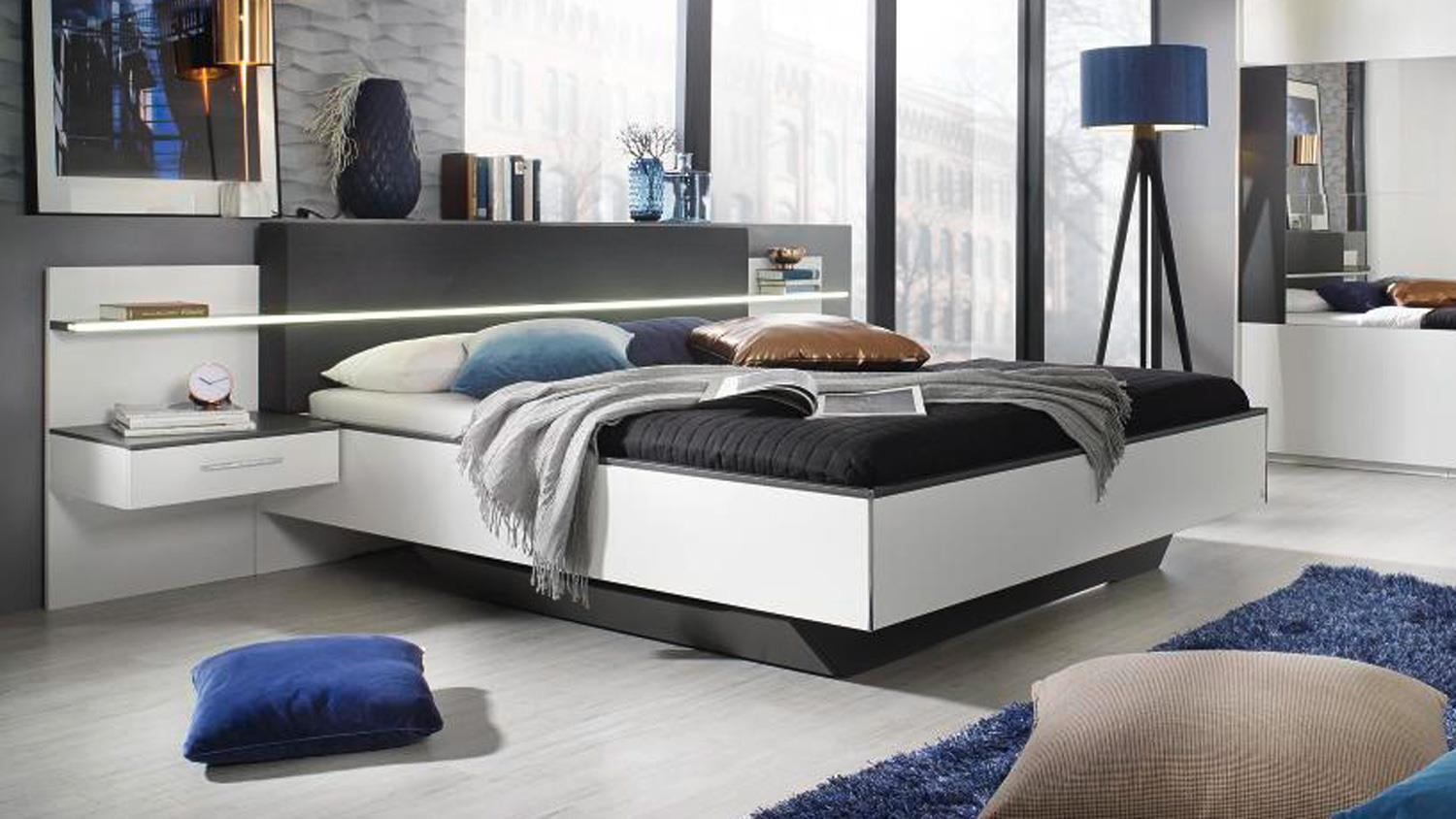 schlafzimmer set elissa bett nachttisch schrank wei graphit mit led. Black Bedroom Furniture Sets. Home Design Ideas