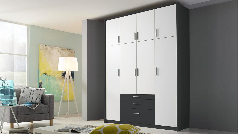 Kleiderschrank HILDESHEIM EXTRA Schrank in weiß und grau