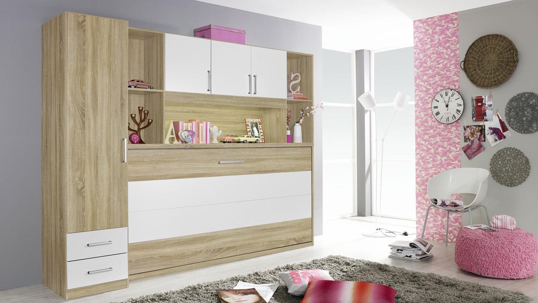 schrankbett albero regal kleiderschrank bett berbau eiche sonoma wei. Black Bedroom Furniture Sets. Home Design Ideas