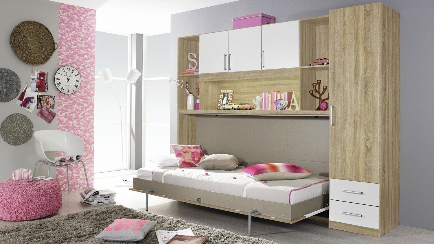 schrankbett albero regal kleiderschrank bett berbau eiche sonoma wei. Black Bedroom Furniture Sets. Home Design Ideas