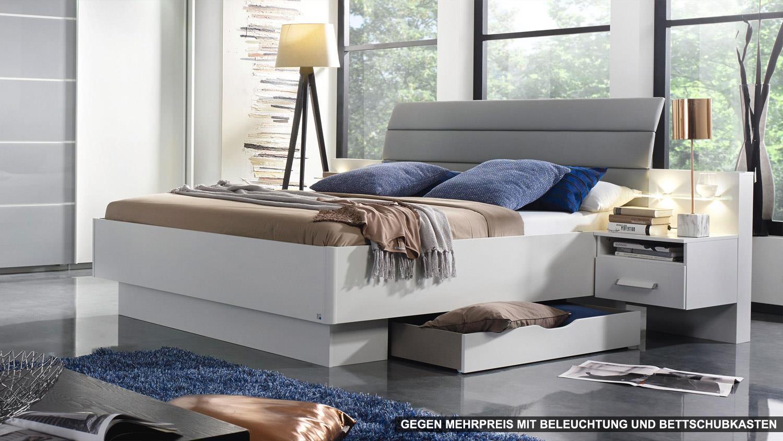 bettanlage ettlingen bett f r schlafzimmer wei und hell grau 180x200. Black Bedroom Furniture Sets. Home Design Ideas