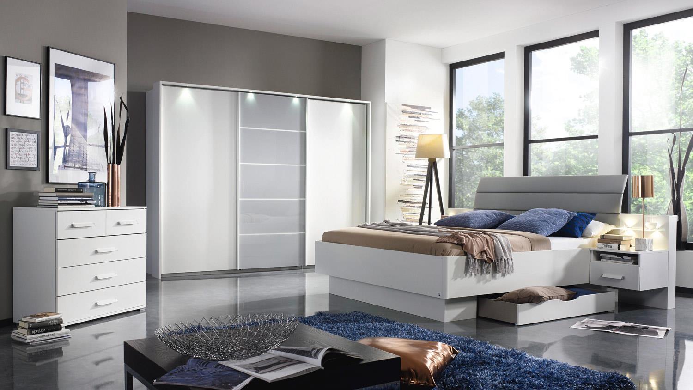 Schlafzimmer Set ETTLINGEN Schwebetürenschrank Bett Nako in weiß grau