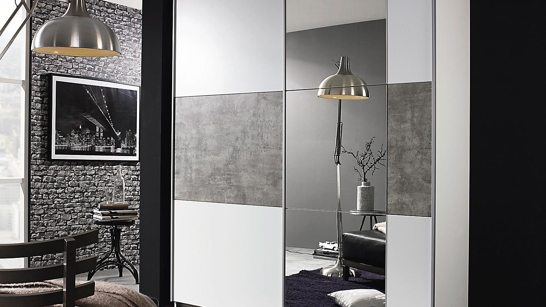 schwebet renschrank prenzlau kleiderschrank in wei und grau stone 175. Black Bedroom Furniture Sets. Home Design Ideas
