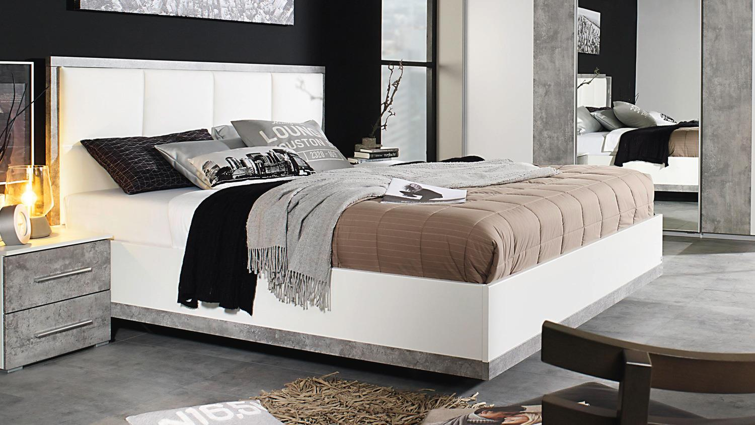 bett siegen bettgestell polsterbett in wei stone grau 180x200 cm. Black Bedroom Furniture Sets. Home Design Ideas