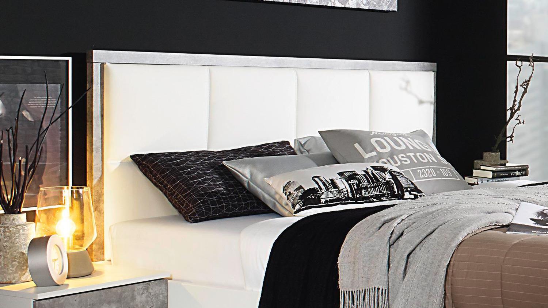 bett siegen bettgestell polsterbett in wei stone grau 180x200 cm. Black Bedroom Furniture Sets. Home Design Ideas