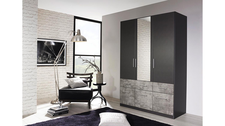 Kleiderschrank LORCH-EXTRA Schrank in grau metallic und Stone 136 cm