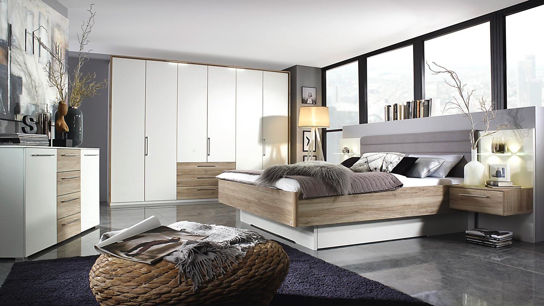 Schlafzimmer THERESA weiß San Remo Eiche LED Selbsteinzug ...