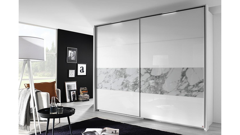 Schwebetürenschrank XELIO Schrank weiß Glasfront Marmoroptik 10 cm