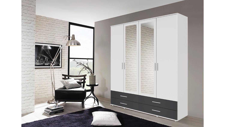 kleiderschrank rasant extra 4 trg wei grau metallic spiegel 168 cm. Black Bedroom Furniture Sets. Home Design Ideas