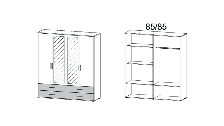 Kleiderschrank Rasant Extra 4 Trg Weiß Grau Metallic Spiegel 168 Cm