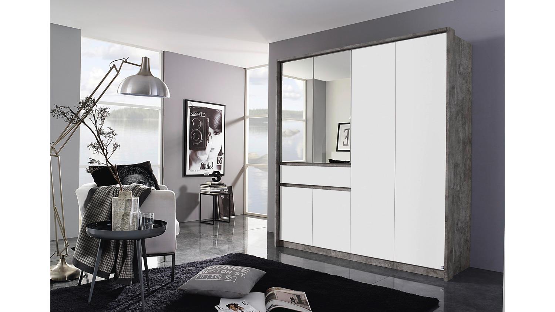 kleiderschrank bornheim schrank 6 t rig grau wei mit spiegel 181 cm. Black Bedroom Furniture Sets. Home Design Ideas