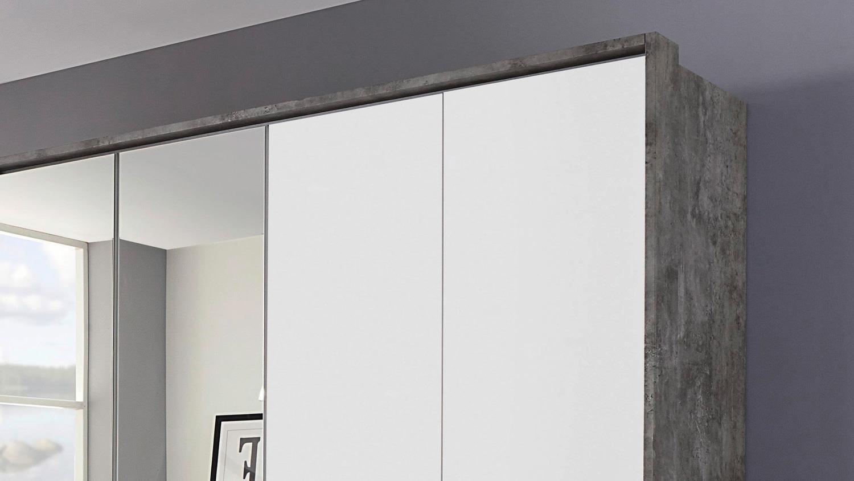 Kleiderschrank Bornheim Schrank 6 Turig Grau Weiss Mit Spiegel 181 Cm