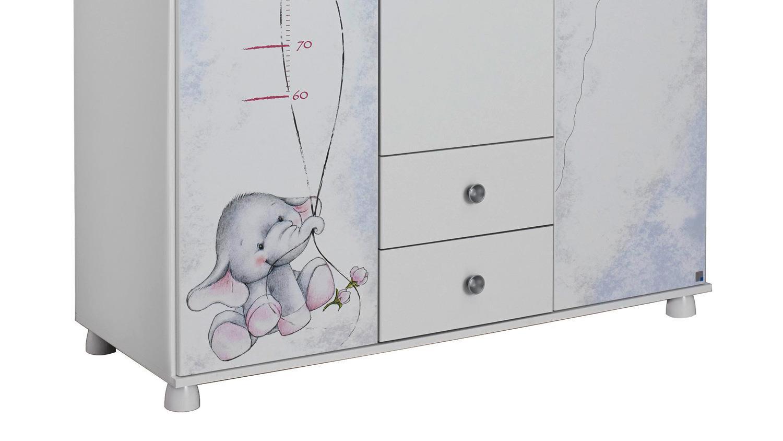 Kleiderschrank JEMMA Schrank 3-türig weiß Print Elefant Maus 136 cm