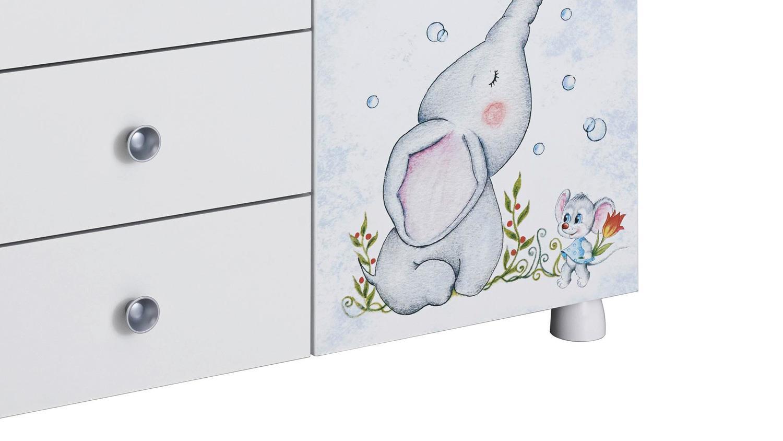 Wickelkommode JEMMA Kommode mit Wickelaufsatz weiß Print Elefant Maus