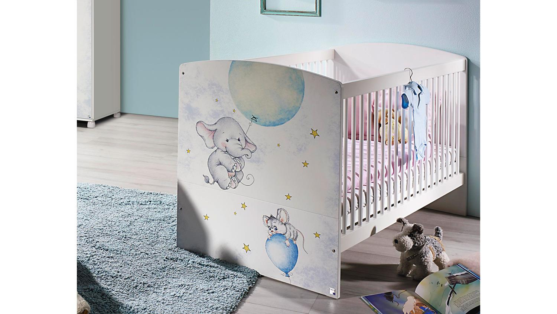 Babybett JEMMA Kinderbett Gitterbett weiß Print Elefant Maus 70x140