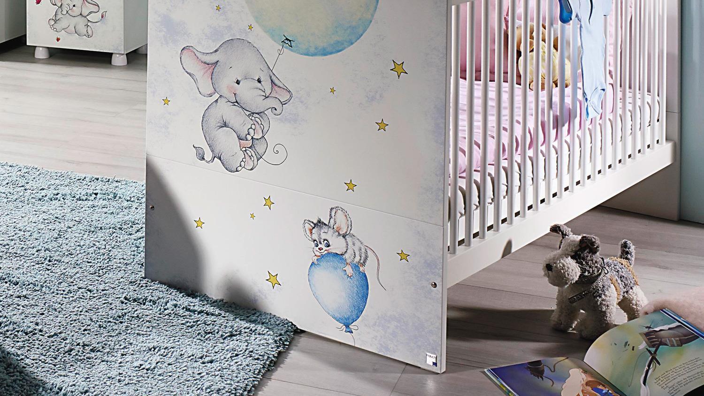 Babyzimmer Jemma Kinderzimmer Set 7 Teilig In Weiss Print Elefant Maus