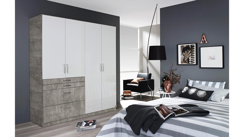 Kleiderschrank Homburg Extra Schrank Beton Grau Weiß