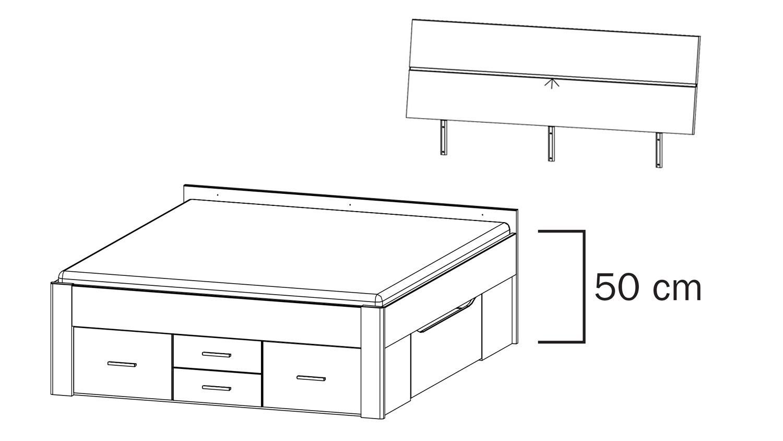 bett scala bettgestell jugendbett eiche wotan mit beleuchtung 140x200. Black Bedroom Furniture Sets. Home Design Ideas