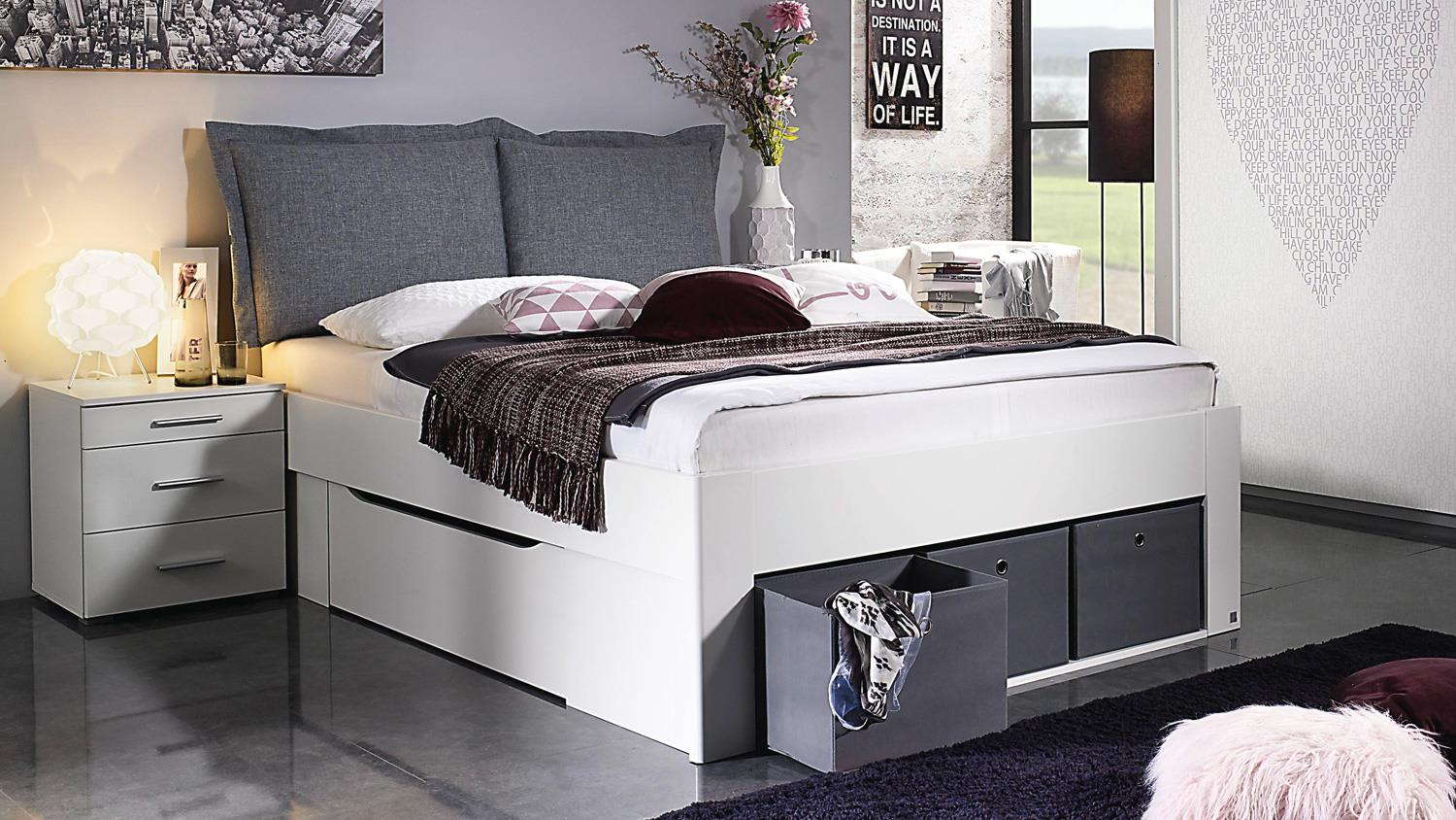 bett scala bettgestell jugendbett wei mit stoffboxen grau. Black Bedroom Furniture Sets. Home Design Ideas