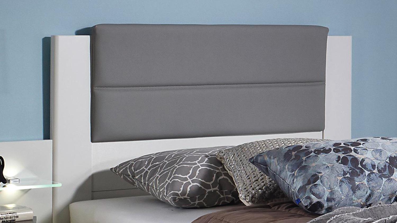 Bett VILLINGEN Komfortbett Bettgestell Weiß Grau Polster