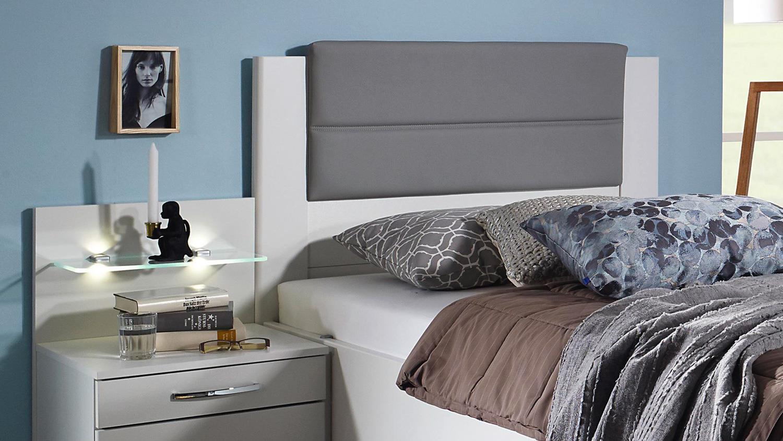 Komfort Schlafzimmer VILLINGEN Komfortzimmer weiß grau Spiegel 3-tlg