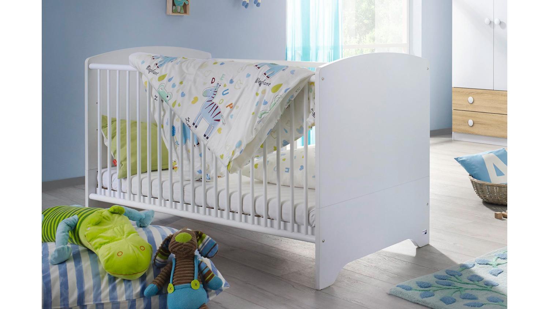 babybett filipo kinderbett gitterbett wei inkl lattenrost 70x140 cm. Black Bedroom Furniture Sets. Home Design Ideas