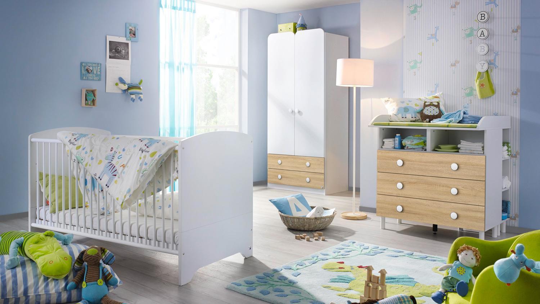 Babyzimmer Filipo Kinderzimmer Komplett Set Weiss Eiche