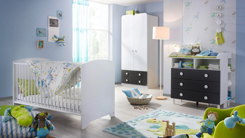 babyzimmer filipo kinderzimmer komplett set wei grau metallic 3 tlg. Black Bedroom Furniture Sets. Home Design Ideas