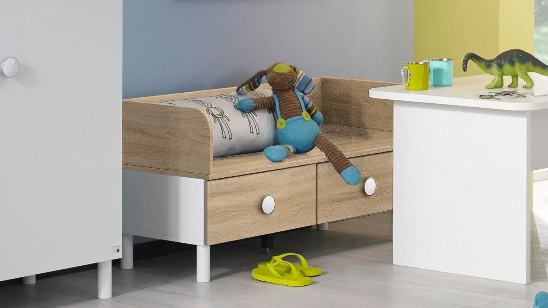sitzbank filipo kinderzimmer bank holzbank wei eiche sonoma 93 cm. Black Bedroom Furniture Sets. Home Design Ideas