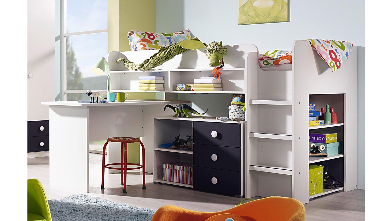 hochbett filipo etagenbett kinderbett wei inkl. Black Bedroom Furniture Sets. Home Design Ideas