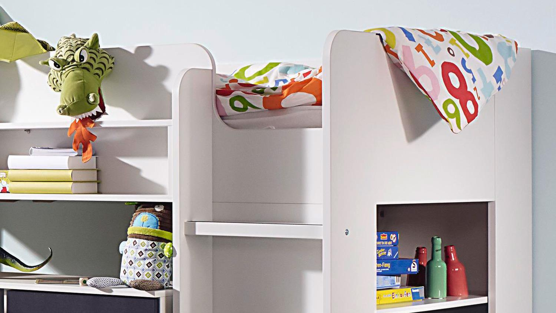 hochbett filipo etagenbett kinderbett wei inkl lattenrost 90x200 cm. Black Bedroom Furniture Sets. Home Design Ideas