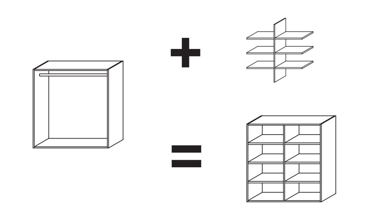Schrank DRESSBOX Würfel Regal Stauraumlösung in weiß 101x104 cm