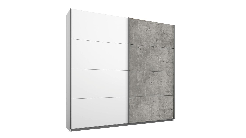 Schwebetürenschrank QUADRA Kleiderschrank in weiß Beton 271x210 cm
