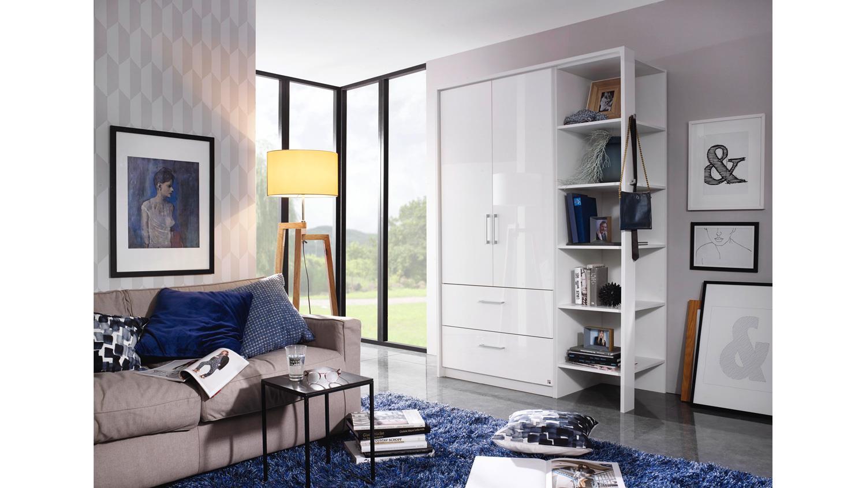 kleiderschrank zamora plus wei hochglanz mit regal und. Black Bedroom Furniture Sets. Home Design Ideas