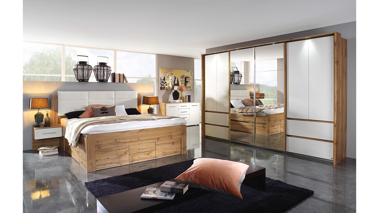 Schlafzimmer WEINGARTEN Komplettset Eiche Wotan weiß Spiegel 10-teilig
