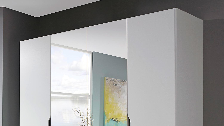 Kleiderschrank Freiham Drehturenschrank 4 Turig Weiss Spiegel 181 Cm