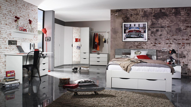 eckschrank alvara kleiderschrank wei beton inkl spiegel 208x164 cm. Black Bedroom Furniture Sets. Home Design Ideas