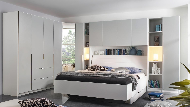 Schlafzimmer Set MAFIS Bett Schrank in grau und weiß