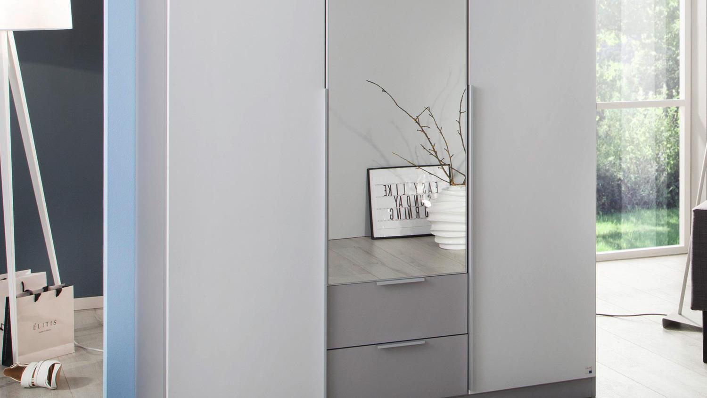 Kleiderschrank TEXAS Schrank Schlafzimmer weiß grau 136