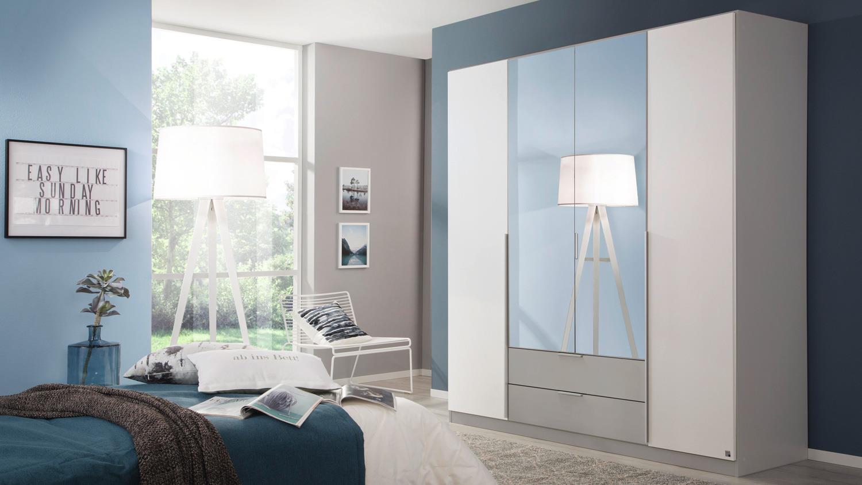 Kleiderschrank TEXAS Schrank Schlafzimmer weiß grau 181
