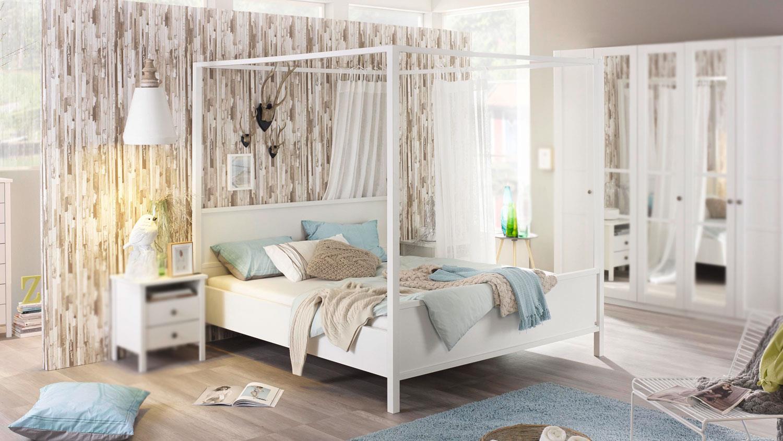 Himmelbett MARIT Bett Schlafzimmer weiß Landhaus 180x200