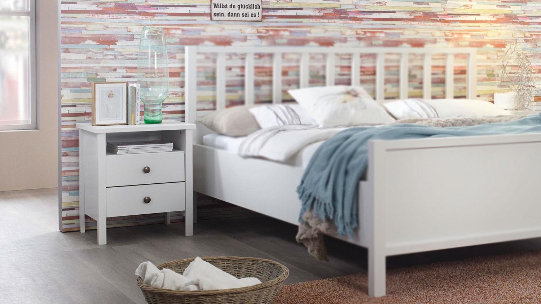 Nachtkommode MARIT Kommode Schlafzimmer in weiß Landhaus