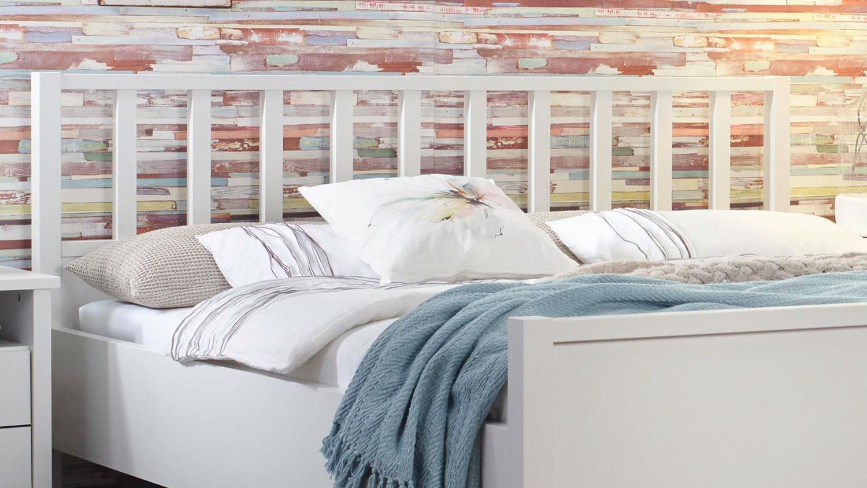 Schlafzimmer 1 MARIT Bett Schrank Kommode weiß Landhaus