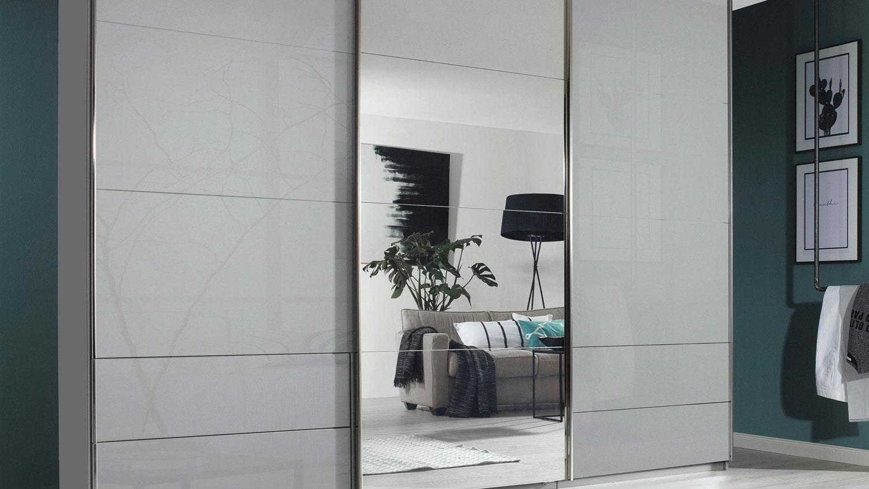 Schwebeturenschrank Orlando Glas Grau Mit Spiegel 271 Cm
