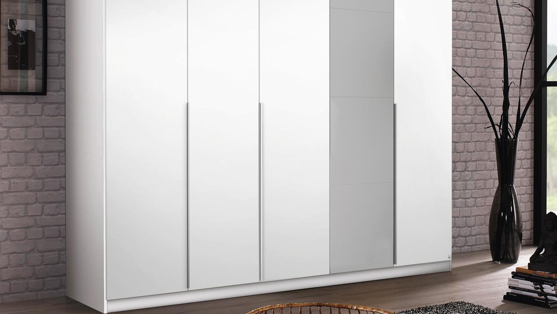 Kleiderschrank Bellezza 5 Trg Weiss Hochglanz Grau 226 Cm