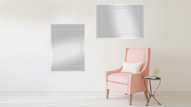 spiegel jan 70x90 cm mit rillenschliff wandspiegel rahmenlos. Black Bedroom Furniture Sets. Home Design Ideas