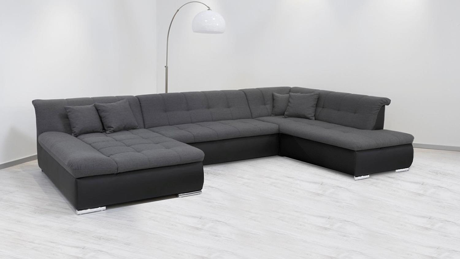 wohnlandschaft alabama sofa schwarz grau mit funktion. Black Bedroom Furniture Sets. Home Design Ideas